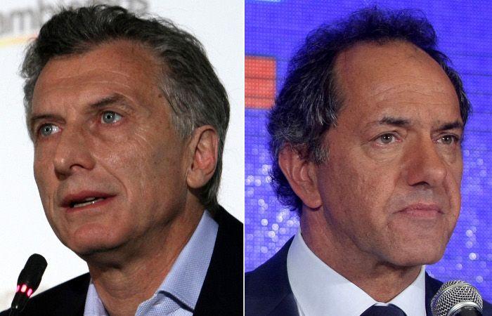 Los candidatos Mauricio Macri (Cambiemos) y Daniel Scioli (Frente para la Victoria).