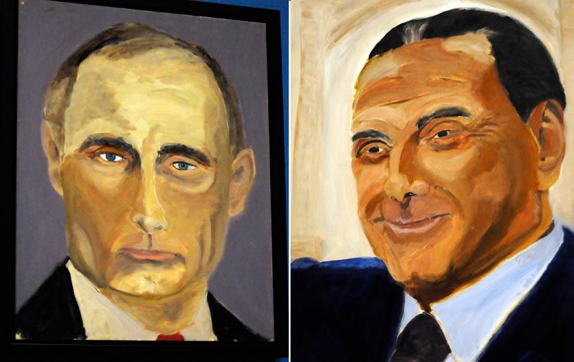 Así retrató a Vladimir Putin y a su amigo Berlusconi.