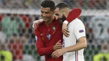 Cristiano Ronaldo y Benzema, goleadores y figuras de Portugal y Francia.