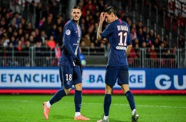 Los rosarinos Mauro Icardi y Angel Di María buscarán hoy darle el primer título de Champions League a PSG.