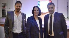 Rodolfo Di Pollina, Claudia Scherer-Effosse e Ignacio Astore en el encuentro realizadoen la Alianza Francesa.