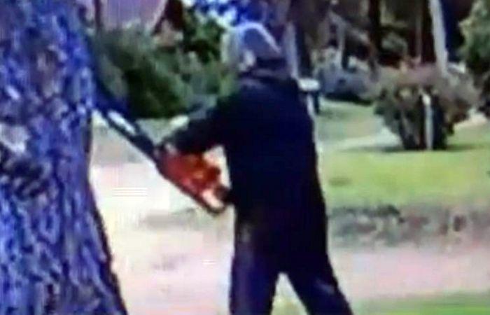 Una imagen de una cámara de seguridad donde se ve al atacante.