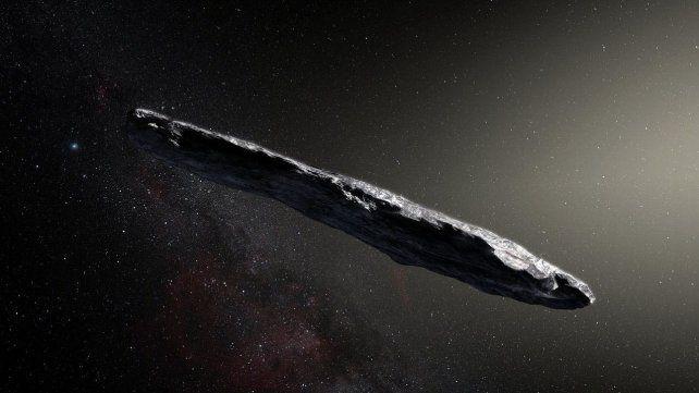 Representación de Oumuamua como una roca alargada en forma de puro