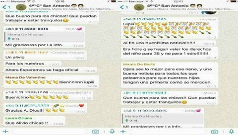 el chat. Captura de pantalla del diálogo del grupo de Whatsapp que integran las mamás.