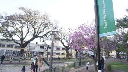 La plaza De las Américas, lindera al Complejo Gurruchaga. Allí fueron asaltados cuatro alumnos.