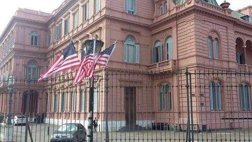 Todo listo en la Casa Rosada para recibir al presidente norteamericano.