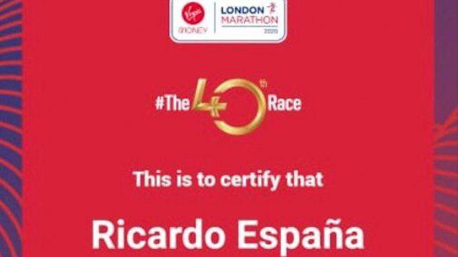 Reconocimiento I: El atleta cumplió una destacada competencia entre los 45.000 participantes de todo el mundo.