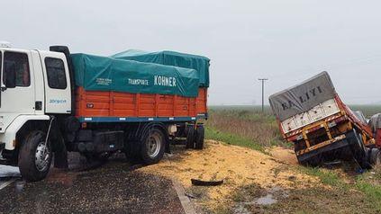El camión cuyo conductor perdió la vida quedó en la banquina.