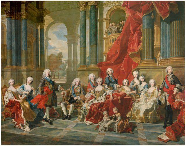 """""""La familia de Felipe V"""". Louis Michel Van Loo. Año 1743. Colección del Museo del Prado"""