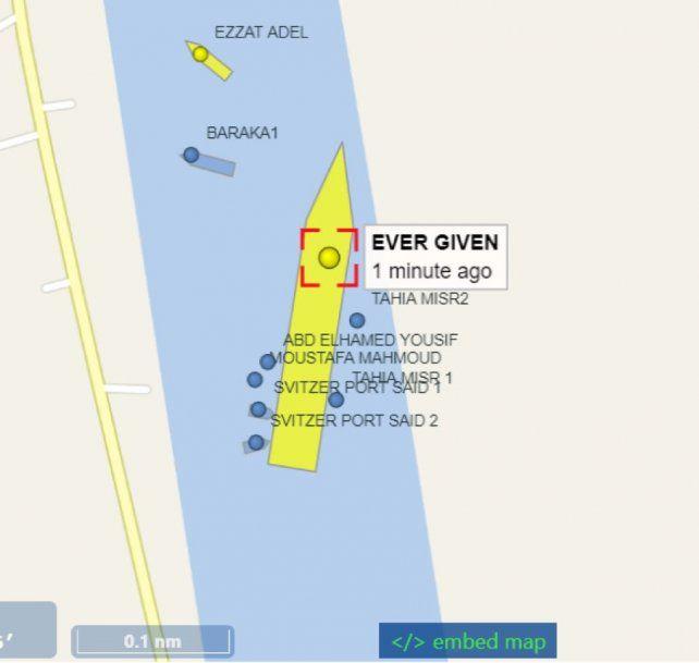 La imagen del sitio especializado vesselfinder a las 01.00 hora argentina indicaba que el buque se había liberado.