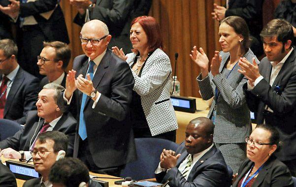 El canciller Héctor Timerman se mostró feliz por la aprobación de la resolución en la ONU.