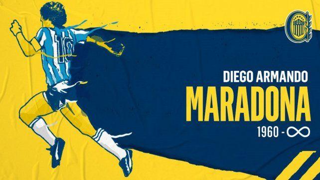 El homenaje de Rosario Central a Diego Maradona.