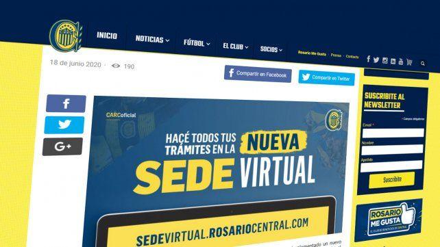 Rosario Central inauguró una sede virtual para los socios canallas