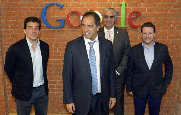 Scioli y los directivos de Google Argentina hablarno sobre inclusión digital.