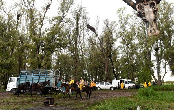 A caballo. Familiares del chico hacían su propia búsqueda. (foto: Celina Mutti Lovera)