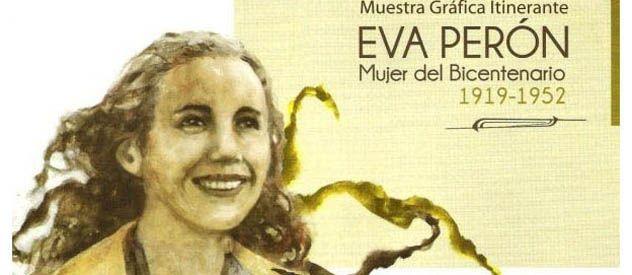 Un afiche de la muestra itinerante sobre Eva Perón que fue llevada a Villa General Belgrano.