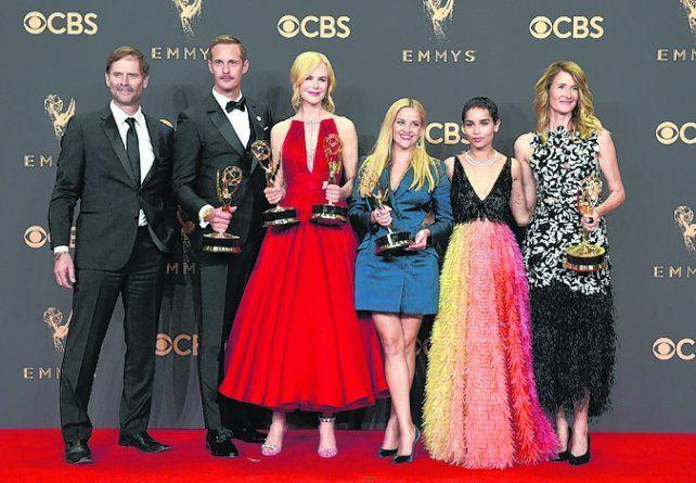 miniserie. Nicole Kidman (centro) recibió el premio por Big Little Lies.