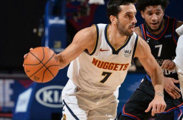 El basquetbolista argentino Facundo Campazzo sumó minutos ante Philadelphia y aportó un triple.