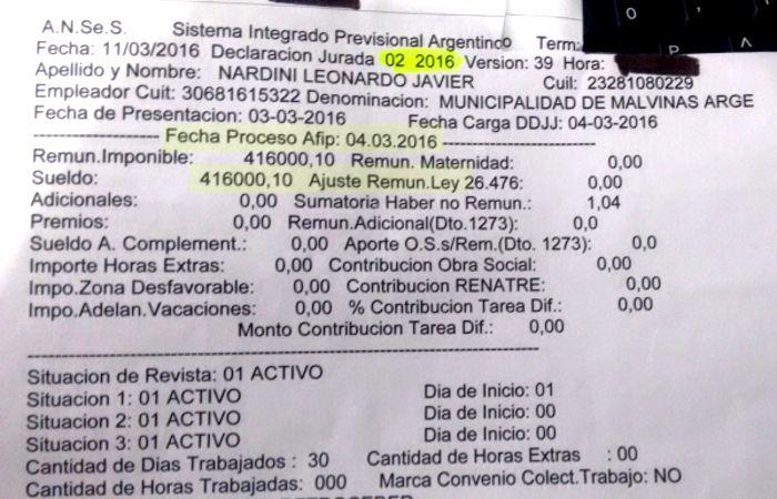 La constancia de la Ansés del sueldo de Nardini de febrero pasado. (imagen: El Embudo TV)