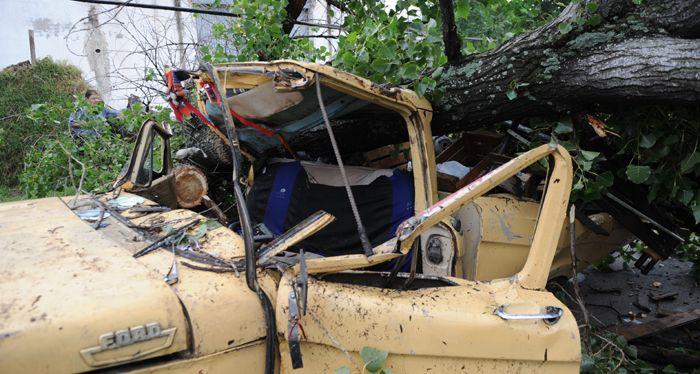 Un árbol aplastó a una camioneta y mató a un hombre en el temporal