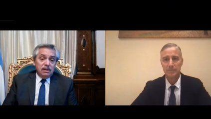 Imagen de la videoconferencia de esta tarde entre Fernández y Figueiras.