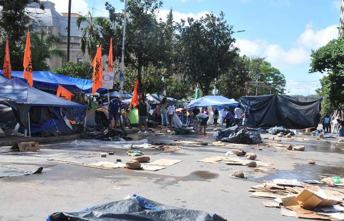 Los manifestantes de Tupac Amaru reclaman la liberación de Milagro Sala.