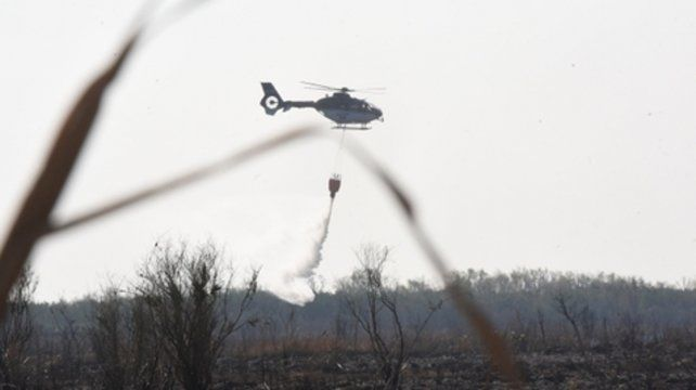 Desde lo alto. El helicóptero en plena acción.