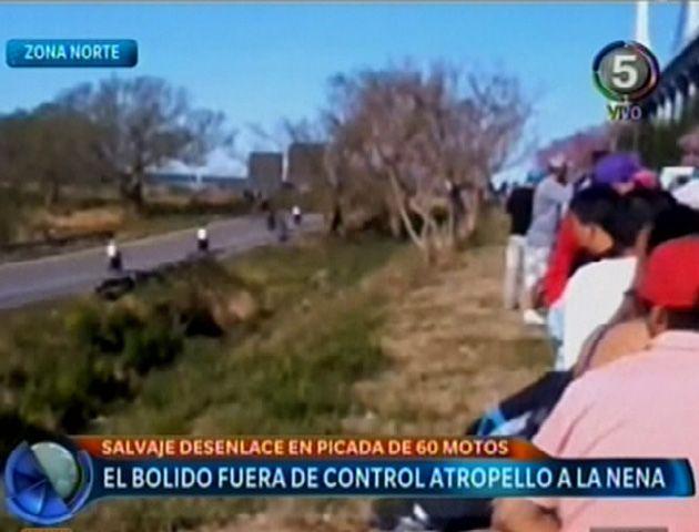Las imágenes de las picadas que se corren bajo la cabecera del puente Rosario - Victoria