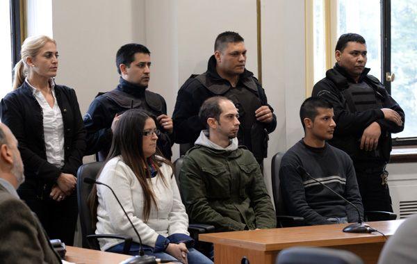 Los tres acusados en la audiencia que se celebró hoy. (foto: Silvina Salinas)