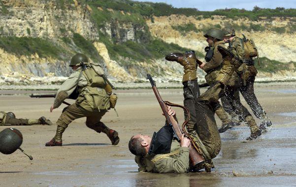 En la playa. Simulacro del desembarco en Normandía