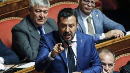 Matteo Salvini líder de la Liga y senador. Deberá responder por secuestro de persona.