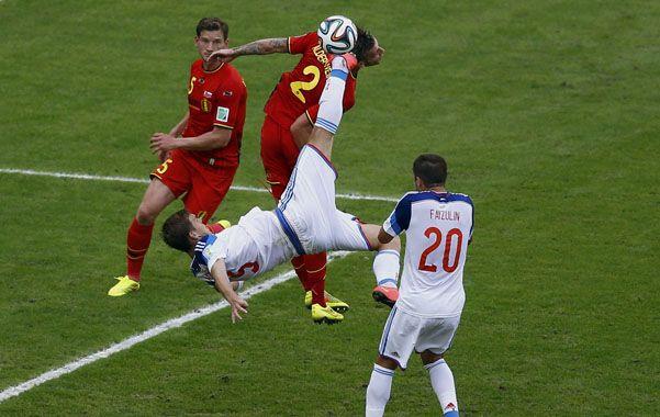Pirueta. Rusia no pudo aguantar hasta el pitazo final.