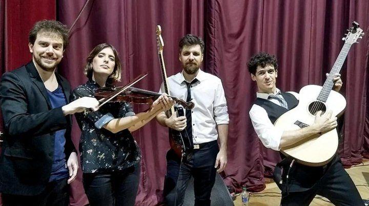 La banda. Alexis Thompson, Julieta Sciasci, Bruno Moreno y José Matteucci, integrantes de Música para Volar.