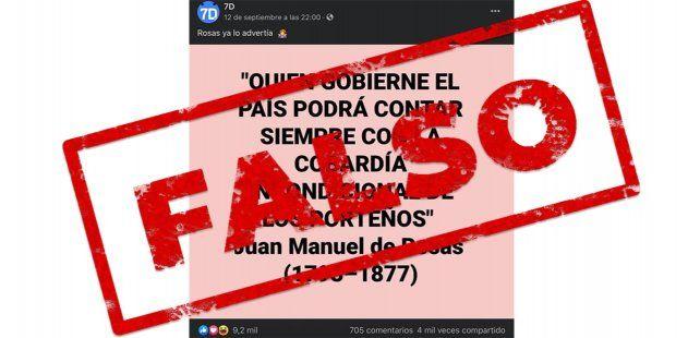 Una declaración atribuida a Juan Manuel de Rosas