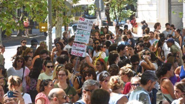 protesta en la plaza san martín. Para los dirigentes de Amsafé