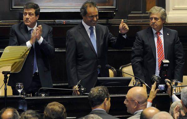 El gobernador de la provincia de Buenos Aires en la apertura de sesiones de la legislatura.