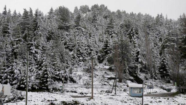 Bariloche. La nieve se acumuló ayer en el kilómetro 1 de calle Pioneros.