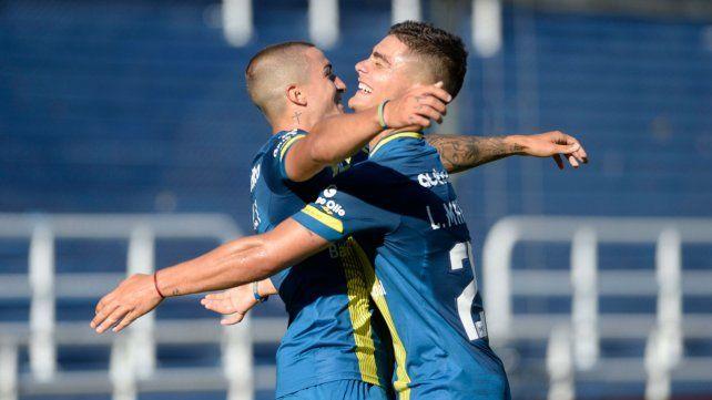 Marinelli y Dupuy celebran ante Patronato. Ese día Alan anotó dos goles.
