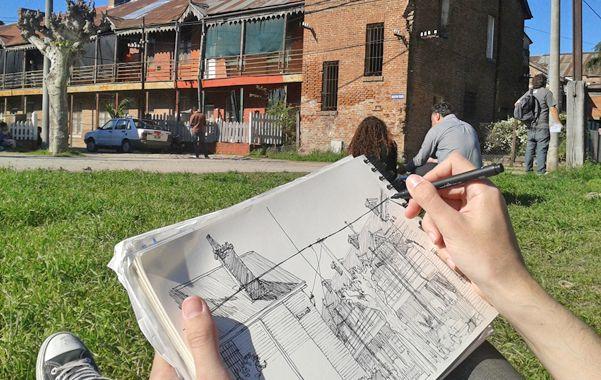 Dibujo. Se busca que los estudiantes puedan investigar sobre el patrimonio edilicio a partir del boceto exterior.
