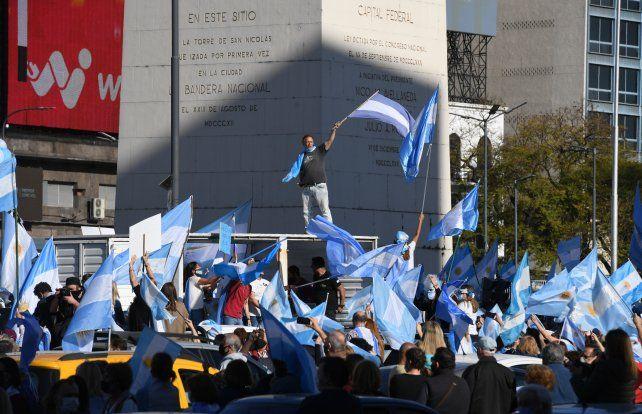 El Obelisco fue epicentro de la movida opositora realizada en la Capital Federal.