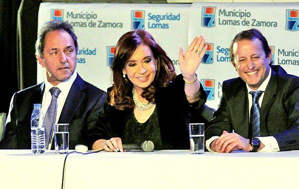 Primera línea. Cristina logró que Scioli haga campaña por Insaurralde