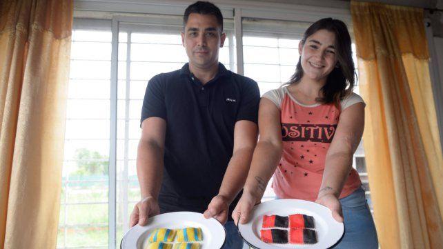 Pastas con estilo: Tania y Leandro ofrecen comida con los colores de Newell's y Central.