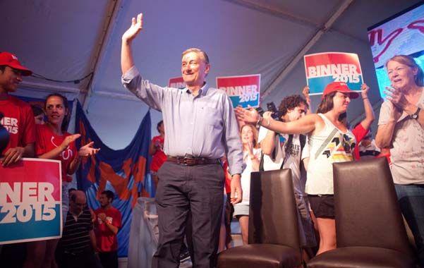 En La Feliz. Binner estuvo acompañado en su lanzamiento por los principales dirigentes del socialismo santafesino.