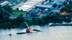 Vista aérea de la planta potabilizadora de Arroyito.