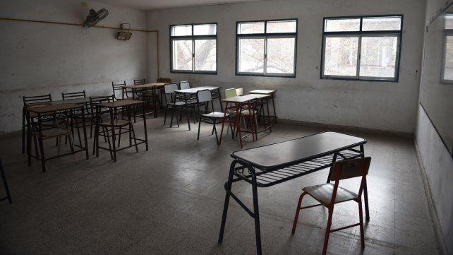 Aulas vacías. El panorama en Rosario es muy complicado y las clases se dictan a distancia.