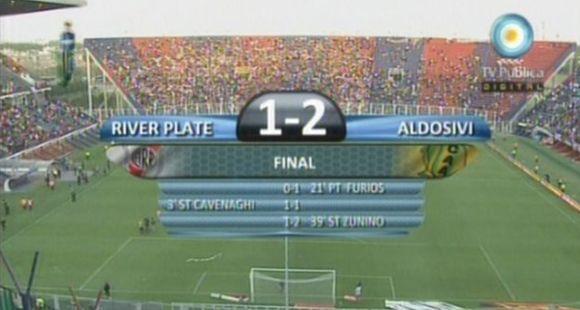 Aldosivi le sacó el invicto a River, le ganó 2-1 y lo dejó segundo en la tabla
