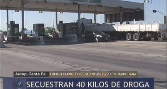 Secuestraron 40 kilos de droga en la autopista Rosario-Santa Fe
