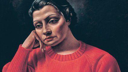 La mujer del sweater rojo, retrato de Retrato de Berni de 1935 de Nina Terré. La mujer estaba casada con un médico del Sanatorio Británico, pareja amiga de los Berni y su hijita Lili.