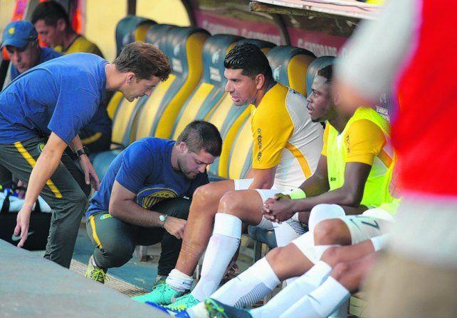 Contra Godoy Cruz. Ortigoza se resintió de la lesión en el sóleo y no pudo ni siquiera empezar el partido.