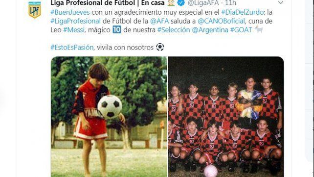 El tuit de la Liga Profesional de Fútbol a Newells por Messi